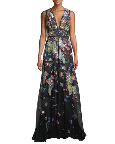 Sleeveless V-Neck Beaded-Embroidered A-Line Evening Gown
