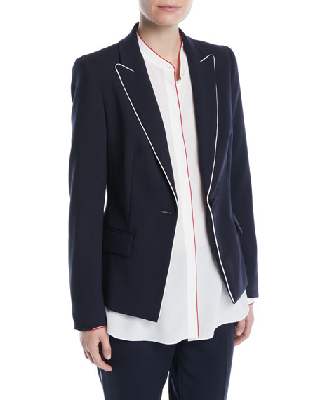 One-Button Wool-Blend Jacket w/ Contrast Piping