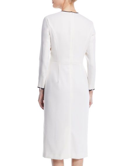 Bow-Front Long-Sleeve Wool Sheath Midi Dress