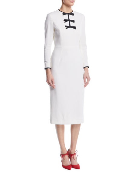 Escada Bow-Front Long-Sleeve Wool Sheath Midi Dress