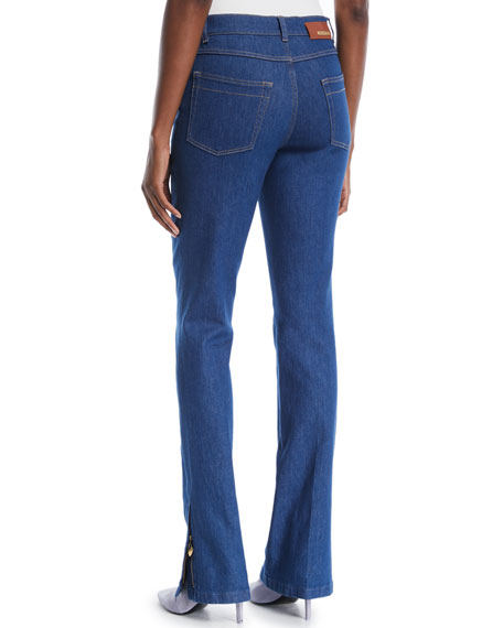 High-Rise Boot-Cut Zip-Cuffs Jeans w/ Seam Details