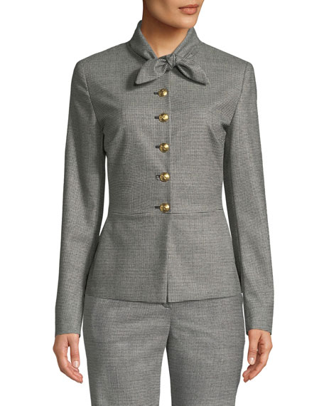 Tie-Neck Button-Front Mini-Houndstooth Jacket