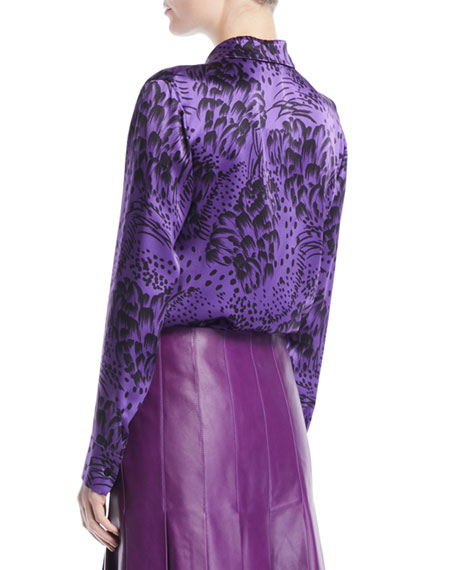 Button-Front Long-Sleeve Feather-Print Silk Blouse