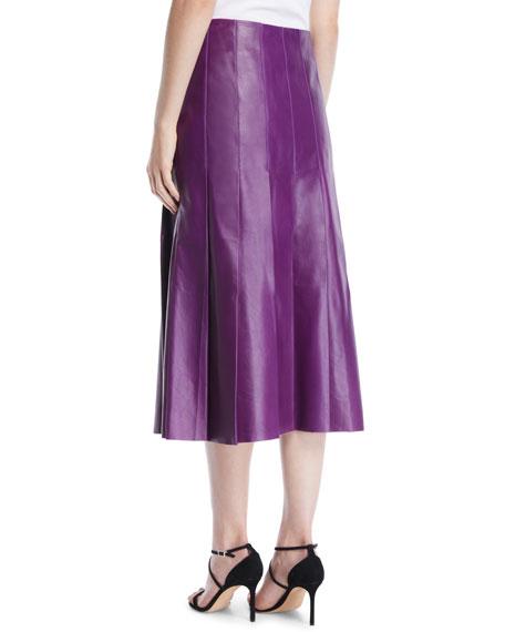 A-Line Pleated Lamb Leather Midi Skirt