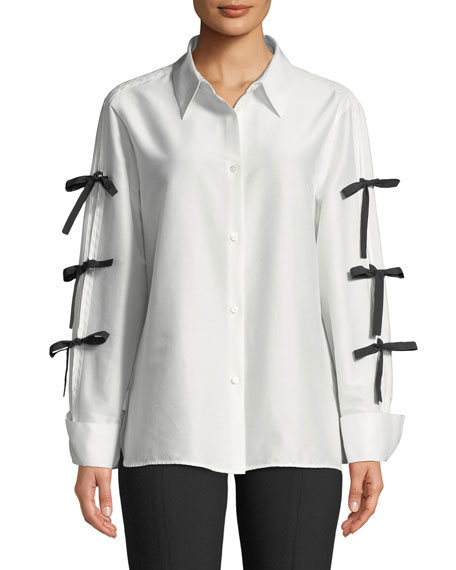 Bow-Sleeve Button-Front Cotton-Silk Shirt