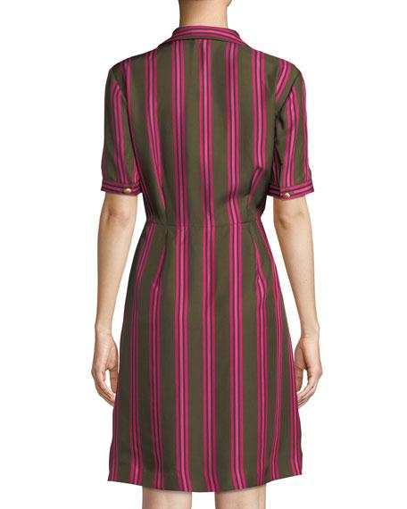 Sport Striped Silk Button-Front Short-Sleeve Shirt Dress