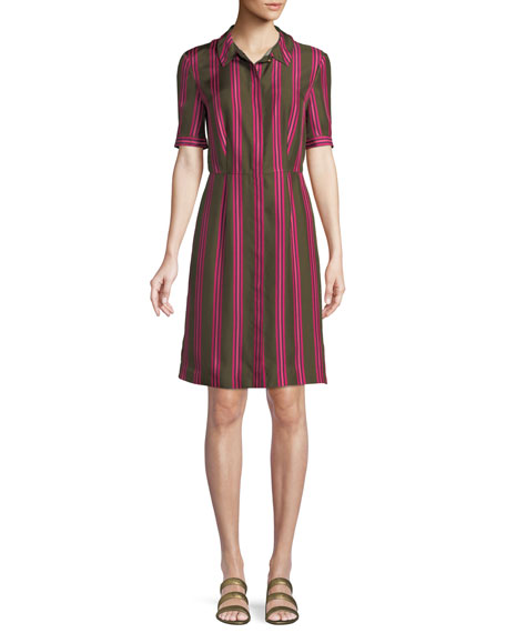 SPORT STRIPED SILK BUTTON-FRONT SHORT-SLEEVE SHIRT DRESS
