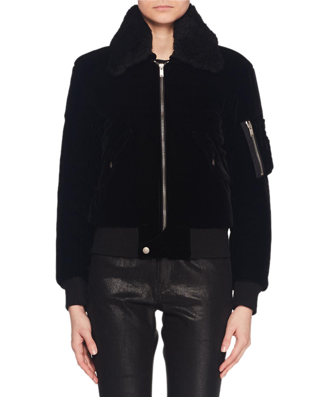 eef807c51 Saint Laurent Shearling Collar Zip-Front Velvet Bomber Jacket w ...
