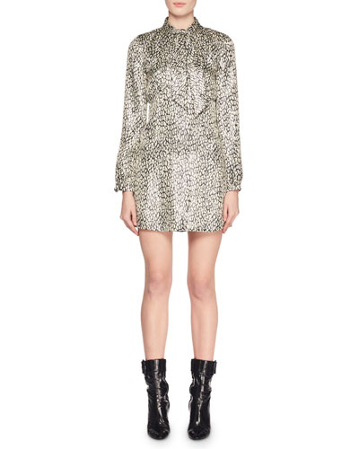 Tie-Neck Long-Sleeve Empire-Waist Metallic Leopard-Print Dress