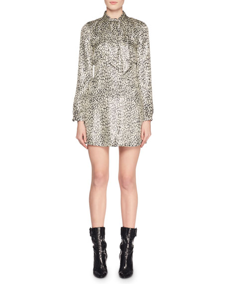 Tie-Neck Long-Sleeve Empire-Waist Metallic Leopard-Print Dress in Neutrals