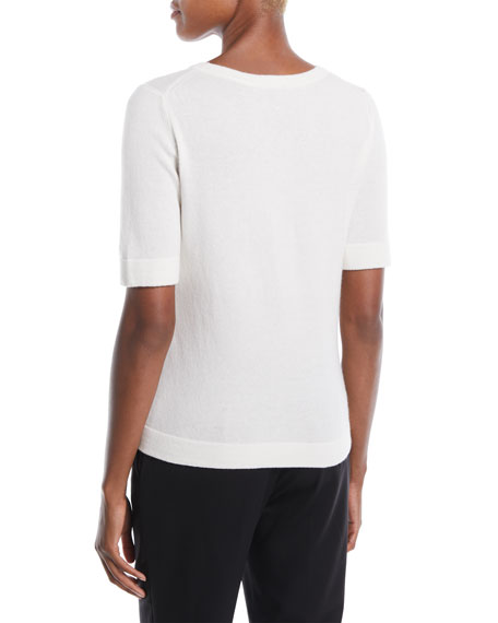 Crewneck Short-Sleeve Wool-Cashmere Sweater