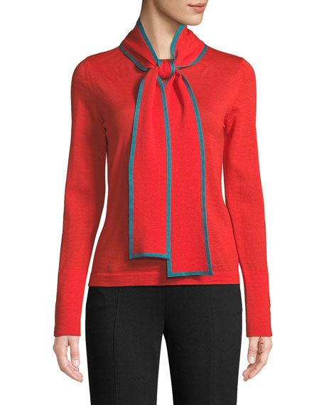 Long-Sleeve Contrast Trim Neck-Sash Wool Pullover Top