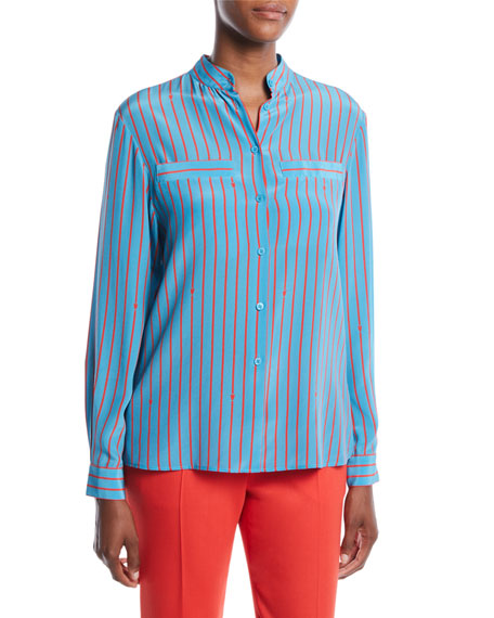 Escada Button-Front Long-Sleeve Striped Silk Blouse