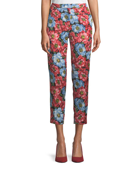 Escada Talaranto Straight-Leg Front-Zip Floral-Jacquard Ankle Pants