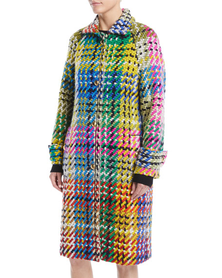 Escada Button-Front Multicolor Blanket-Weave Coat w/ Golden Snaps