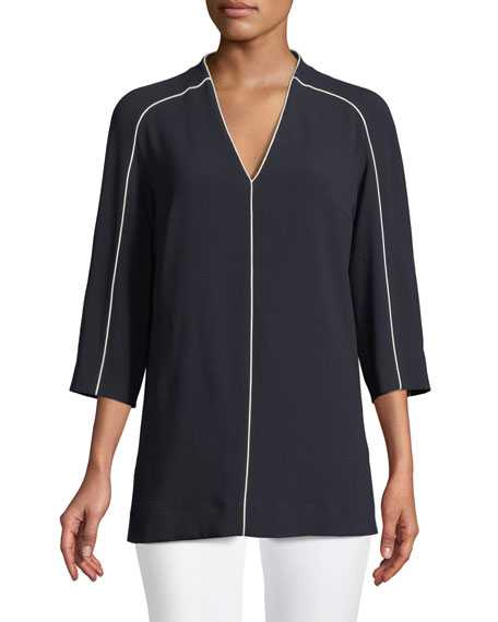 V-Neck 3/4 Sleeve Crepe Blouse w/ Contrast Piping