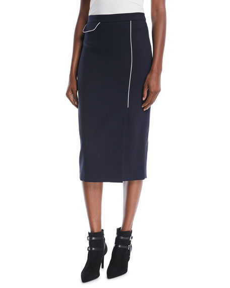 Side-Slit Wool-Blend Midi Pencil Skirt w/ Contrast Piping