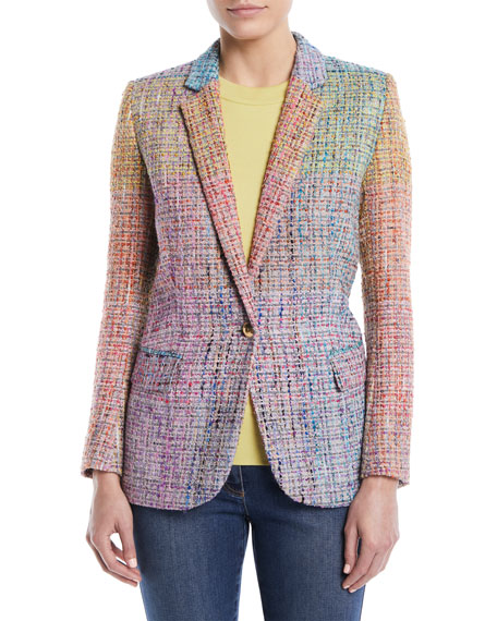 Notched-Lapels One-Button Multicolor Tweed Jacket