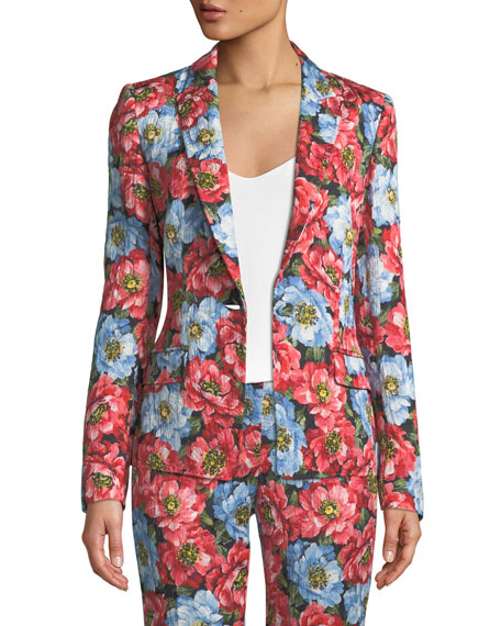 One-Button Notched-Lapel Floral-Jacquard Jacket