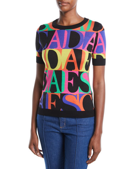 Escada Short-Sleeve Crewneck Logo-Print Pullover Sweater