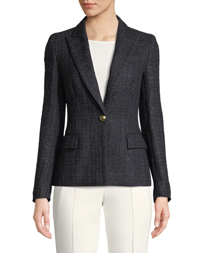 One-Button Metallic-Tweed Blazer