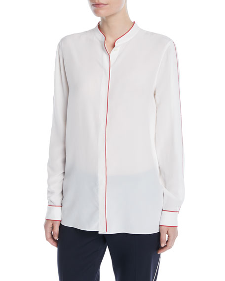 Button-Front Long-Sleeve Silk Blouse w/ Contrast Piping