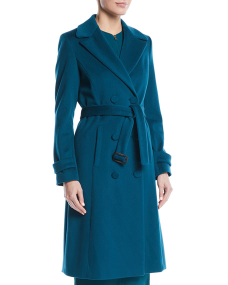 Escada Double-Breasted Self-Belt Wool Coat w/ Piping and