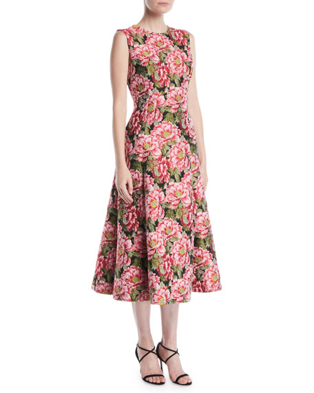 Sleeveless Floral-Jacquard Fit-and-Flare Midi Day Dress