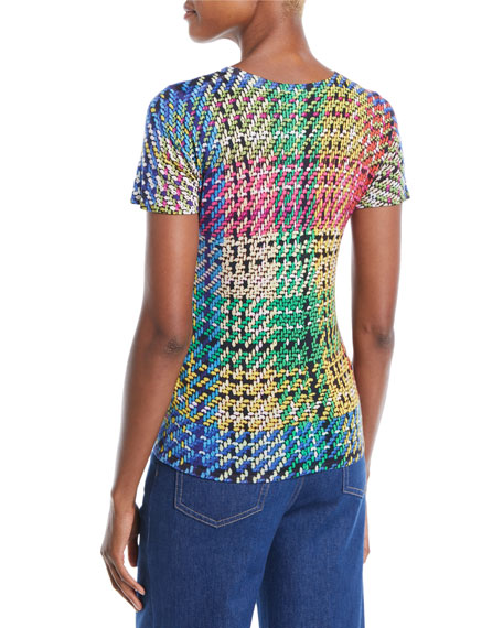 Round-Neck Cap-Sleeve Multicolor Blanket-Weave Top