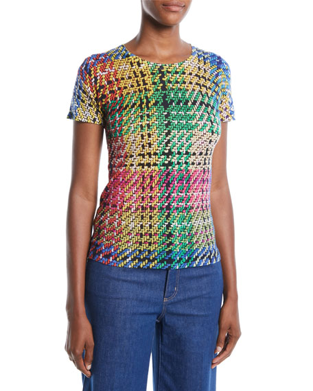 Escada Round-Neck Cap-Sleeve Multicolor Blanket-Weave Top