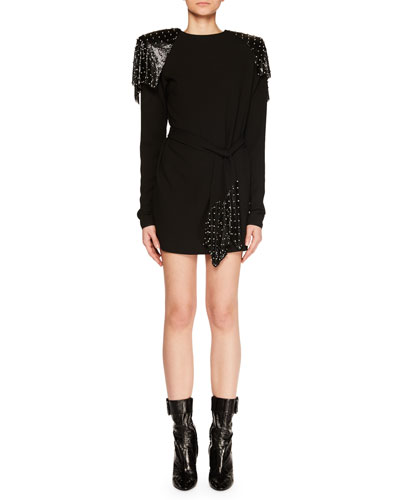 Studded Chain Mail Strong-Shoulder Long-Sleeve Jersey Dress