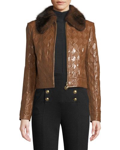 Mink-Collar Zip-Front Diamond-Stitch Crop Leather Jacket