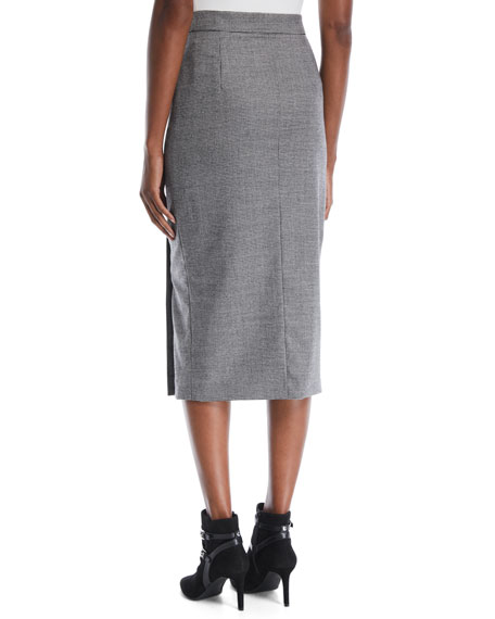 Mini-Houndstooth Straight Wool Midi Skirt w/ Golden Side Buttons