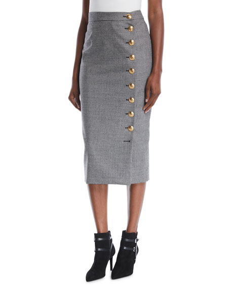 Escada Mini-Houndstooth Straight Wool Midi Skirt w/ Golden