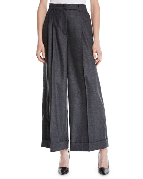 Trinela Pleated Wide-Leg Grosgrain Wool-Blend Pants w/ Tux Stripe