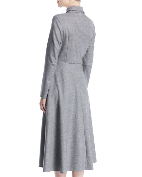 Tie-Neck Zip-Front Long-Sleeve Mini-Houndstooth Wool Dress