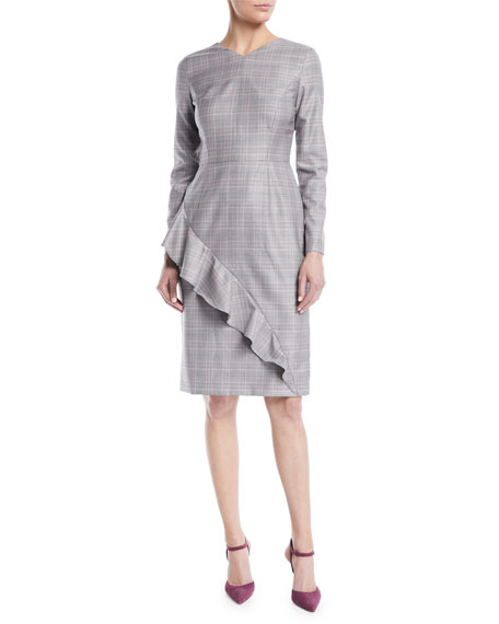 V-Neck Long-Sleeve Asymmetric-Ruffle Glen Plaid Sheath Dress