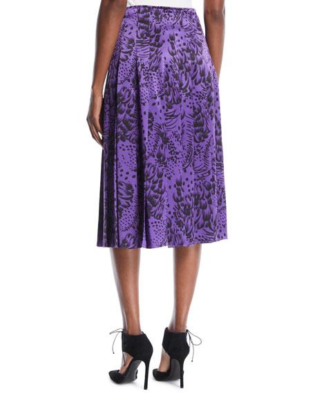 Feather-Print Pleated Silk Satin Midi Skirt