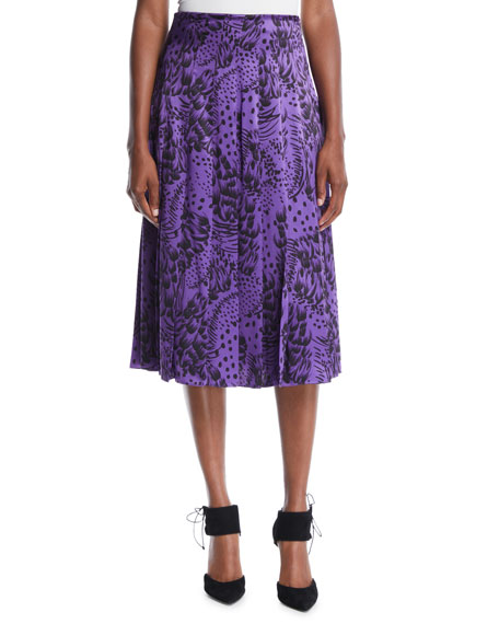 Feather-Print Pleated Silk Satin Midi Skirt