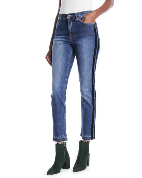 Escada Sport Skinny Jeans w/ Velvet Stripe &