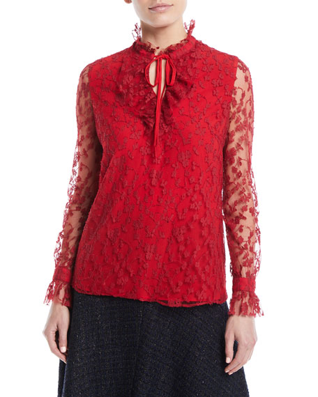 Escada Tie-Neck Long-Sleeve Lace Blouse