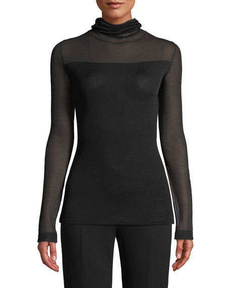 Sheer-Sleeve Cowl-Neck Pullover Sweater Top