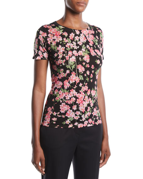 Escada Round-Neck Cap-Sleeve Floral-Print Top