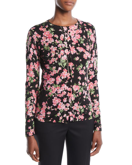 Round-Neck Long-Sleeve Floral-Print Cardigan