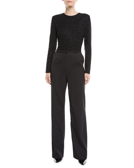 Beaded-Bodice Jewel-Neck Long-Sleeve Belted Straight-Leg Jumpsuit