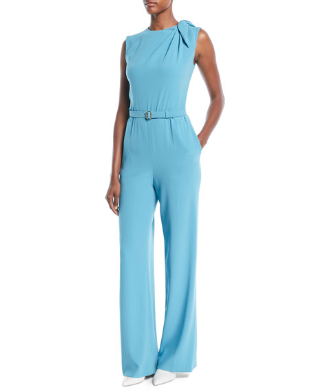 Sleeveless Belted Wide-Leg Crepe Pants