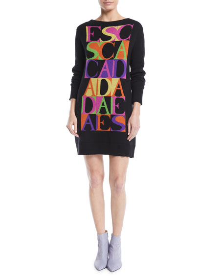 Logo-Intarsia Crewneck Long-Sleeve Cashmere-Blend Sweaterdress