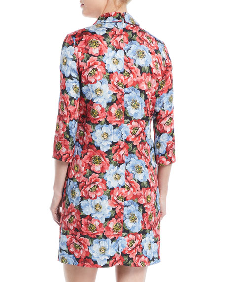 3/4-Sleeve Floral-Jacquard Daytime Shirt Dress