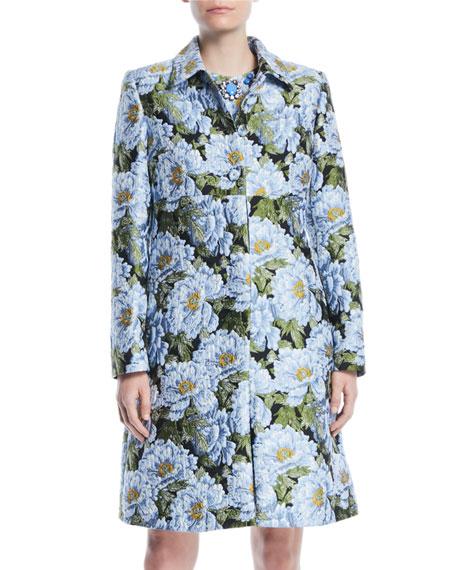 Button-Front Floral-Jacquard Topper Coat