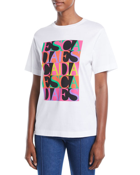 Escada Crewneck Short-Sleeve Multicolor Logo-Print Tee and